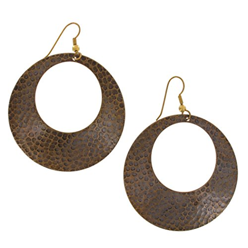 "Pierced Earrings Mod Circle Dangle Hammered Antiqued Gold Brass Tone 2 3/4"" Earrings For Women Set"