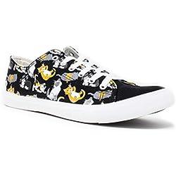 Kitten Sneakers | Cute, Fun Cat Mom Dad Lady Gym Tennis Shoe - Unisex Women Men - (Lowtop, US Men's 10, US Women's 12) Black