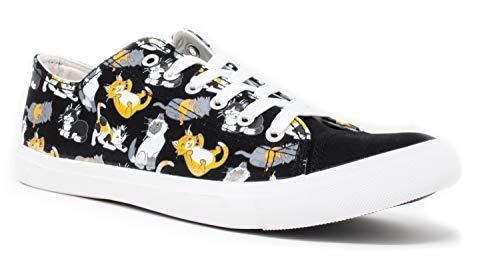 Kitten Sneakers | Cute, Fun Cat Mom Dad Lady Gym Tennis Shoe - Unisex Women Men - (Lowtop, US Men's 6, US Women's 8) Black