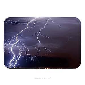Franela de microfibra antideslizante suela de goma suave absorbente Felpudo alfombra alfombra alfombra Tucson Lightning _ 3431272para interior/exterior/cuarto de baño/cocina/Estaciones de trabajo