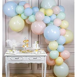 PartyWoo Ballon Pastel, 48 pcs Ballons Pastel, Ballon Rose Pastel, Ballon Jaune Pastel, Ballon Pastel Vert, Ballon Bleu Pastel, Ballon Latex pour Decoration Anniversaire Licorne, Deco Pastel Mariage 2