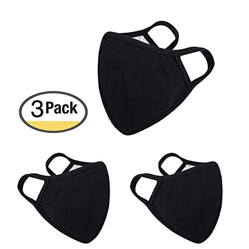 : Anti Flu and Saw Dust Masks - Reusable Cotton Comfy Breathable Safety Air Fog Respirator - for Outdoor Half Face Masks - Protection Pollution Face Flu Allergens Masks for Women Man Black