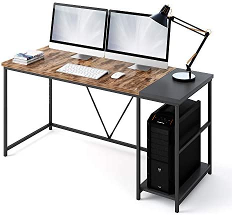 AKKTOL Computer Desk, 55 Inches Office Writing Desk with Wooden Storage Shelf, Simple Study Table, Industrial Style Writing Study Table with Splice Board for Home Office - 55'' - Vintage Brown