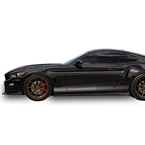 Bubbles Designs Decal Sticker Vinyl Side Racing Stripes Compatible with Ford Mustang 2015-2017 (Gray) ()