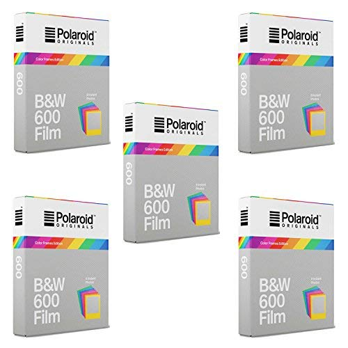 Polaroid Originals Instant 600 B&W Film w/Color Frames (5 Pack) (600 Film Pack)