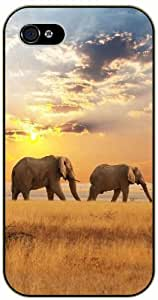 Elephants over yellow grass - iPhone 4 / 4s black plastic case / Animals and Nature, sun