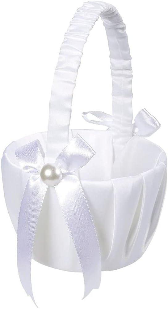 Juvale Flower Girl Satin Wedding Basket, White, 8 x 5 x 3.5 Inches
