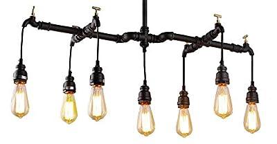 "34"" W x 7 Light Vintage Industrial Black Water Pipe Chandelier Pendant Lamp Nostalgic Restaurant Bar Cafe Ceiling Light Fixture Pendant Retro Rusty Creative Gear Wheel"