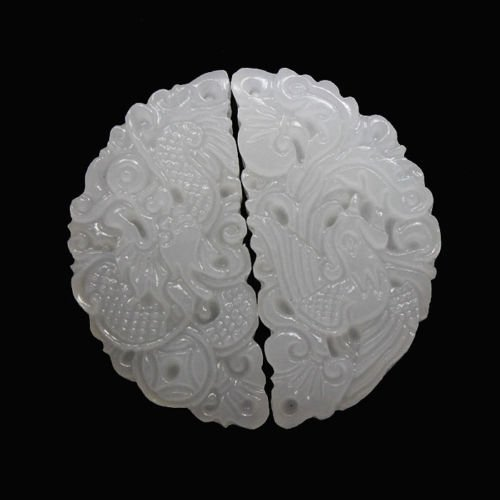 Hand-carved Chinese 100% Natural White Jade Pendant - Pairs Dragon & - Carved Dragon Cord