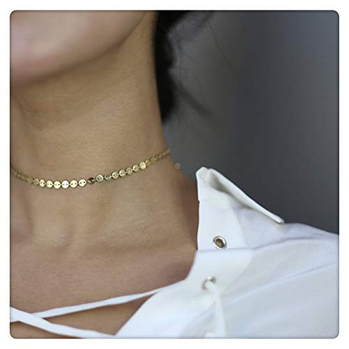 (SEAYII Women Coin Choker Necklace Gold Wafer 14K Gold Fill Sequins Disc Trendy Dainty Chain Short Boho Beach Simple Delicate Handmade Gold Jewelry Gift)