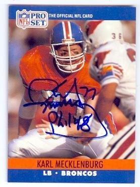 Autographed Broncos Denver Football Pro (Karl Mecklenburg autographed football card (Denver Broncos) 1990 Pro Set #489 - NFL Autographed Football Cards)