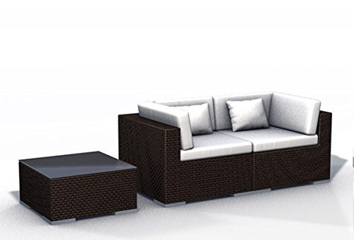 Gartenmöbel Rattan Lounge Espace Start 1a - 2 Sitze Polyrattan, dunkelbraun, inkl.Kissen