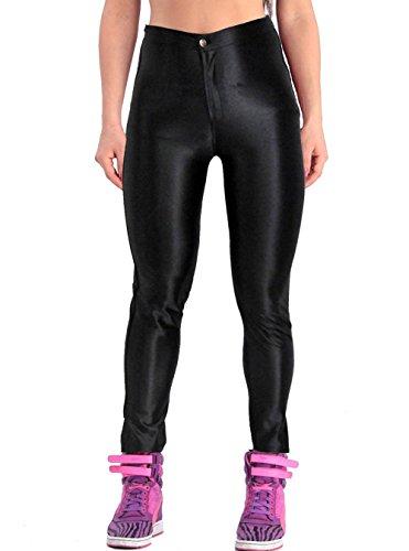 ABUSA Women's Stretch Leggings Disco Satin Pants 2X-Large Black