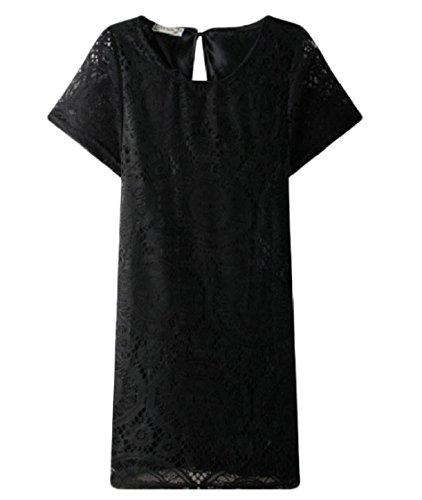 Dress Coolred Sleeve Beach Short Lace Hem Out Women Black Hollow Loose r1rxzg