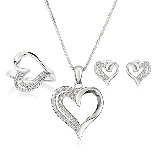 t Jewelry Set, Silver Necklace, Earrings, and Ring for Wife or Girlfriend (Heart Marcasite Set)