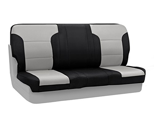 Coverking Custom Fit Rear Solid Bench Seat Cover for Select Jeep Wrangler Models - Neosupreme (Gray with Black Sides)