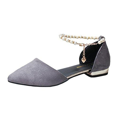 Sandali Caviglia Grigio a Punta Basso Elecenty Perline Donna Casual Moda con scarpa con Tacco Scarpe x6nwqtYHz