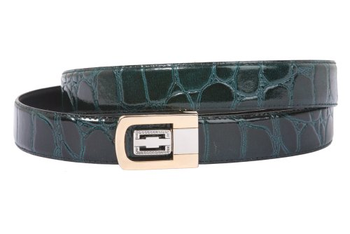 Clamp On One Size Fits All Croco Print Patent Faux Leather Belt Color: Dark Green Green Croco Print