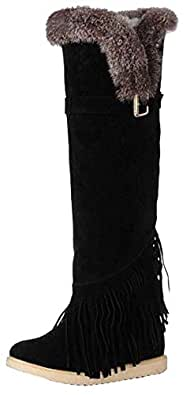 Amazon.com | New winter boots rabbit fur boots fringed