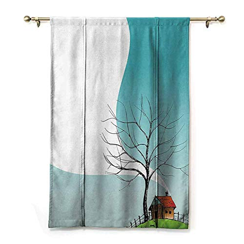 Tie Up Roman Curtain Apartment Decor Collection,Stylized Landscape with House on Top of The Hill Plume European Northern Place Illustration,Multi,48