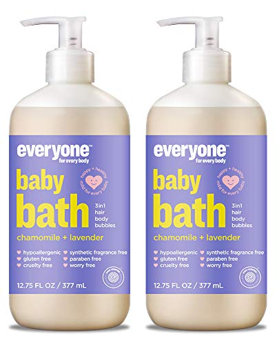 Baby Calendula Bath - EveryOne Baby Chamomile and Lavender Wash (Pack of 2) With Oat, Lavender Oil, Orange Peel Oil, Quinoa Protein, Organic Aloe Leaf, Chamomile, Limonene, Rice Proteins and Calendula, 12.75 fl. oz. each