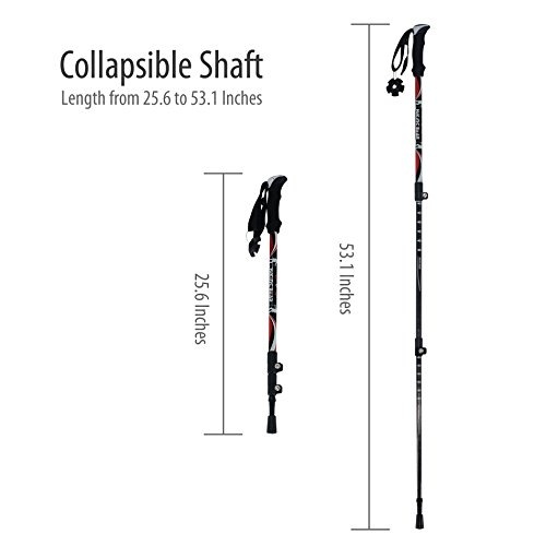 Carbon Fiber Collapsible Trekking Poles, HikingBear Anti-shock Durable Carbon Fiber Hiking Sticks with EVA Grip for Outdoor Walking Trekking Climbing – 1 Pole Red/Black