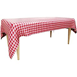 "Trooer 4 Pack Plastic Red and White Checkered Tablecloths Picnic Table Covers - 54"" x 108"""