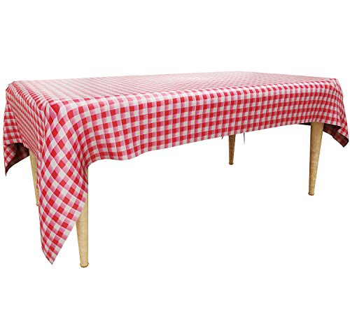 Trooer 4 Pack Plastic Red and White Checkered Tablecloths Picnic Table Covers - 54