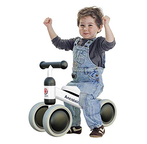 Ancaixin Baby Balance Bikes Bicycle Children Walker 10 Month - 24 Month Toys for 1 Year Old No Pedal Infant 4 Wheels Toddler Top First Birthday New Year Gift White