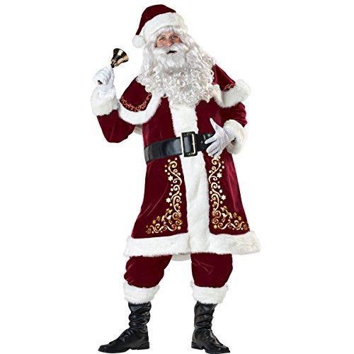 Mrs Santa Costume Xxl (ISEYMI Santa Claus Costume Luxury Suit Halloween Adult Uniforms Plus Size L-3XL (2XL: The Slim Version Of 3XL))