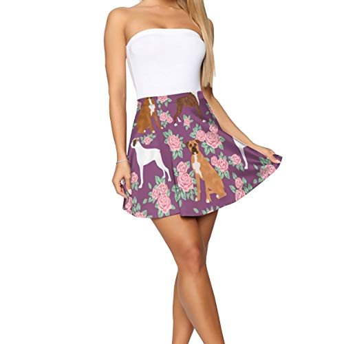 Boxer Dog Florals Pattern Rose Amethyst Women's Fashion Floral Flared A-Line Skater Skirt Cute Mini Skirt