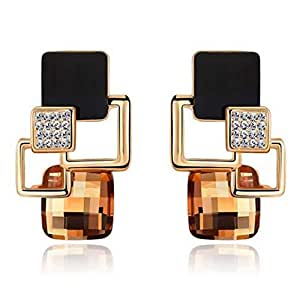 18K Gold Plated Geometric Square Crytal Stud Earrings