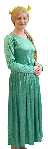 Princess Fiona Green Dress (Stage-Movie-Pantomime-Fancy Dress-Musical PRINCESS FIONA with EARS Costume - All Childrens Sizes (AGE 11-13))