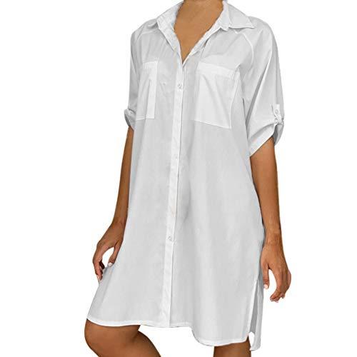 TIANMI Women Fashion Solid Pocket Button Casual V-Neck Short Sleeve Mini Shirt Dress White