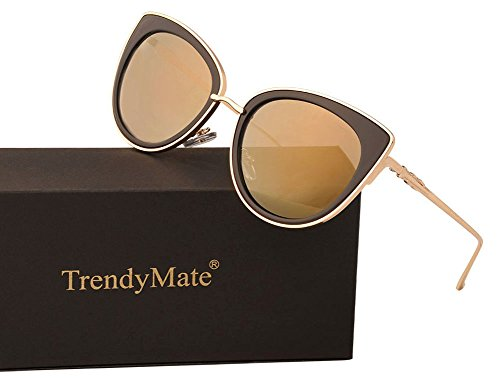 TrendyMate Women Metal Cute Cat Eye Sunglasses Mirror Lens Coating Sunglasses Fashion Eyewear (Tyrant gold, - Size 0 Sunglasses