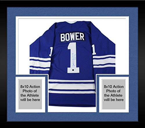 Framed Johnny Bower Signed Toronto Maple Leafs Replica Jersey w/
