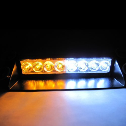 Jackey Awesome 8-LED Warning Caution Van Truck Emergency Strobe Light Lamp Bar (Amber & White)