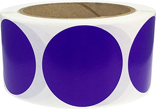 Grape Color Coding Labels for Organizing Inventory 2 Inch Round Circle Dots 500 Total Adhesive Stickers On A Roll