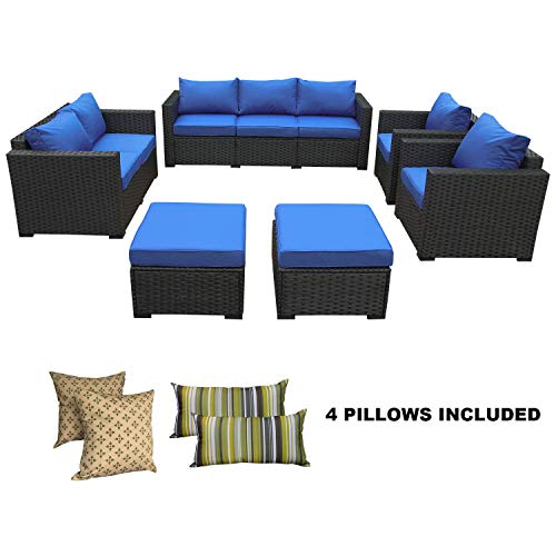 Rattaner Patio Wicker Sofa Set-6 Piece Outdoor PE Rattan Garden Sectional Conversation Cushioned Seat Couch Furniture Set-Royal Blue ()