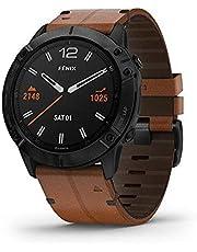 Garmin Fenix 6X szafirowa edycja węgiel czarny DLC Chesnut skórzany pasek zegarek 010-02157-14