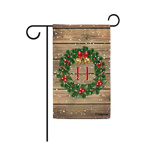 "KafePross Merry Christmas Decorations Holly Bell Monogram H Garden Flag Winte Snow Xmas Tree Letter Initial Decor Banner Outside 12.5""X18"" Print Both Size"