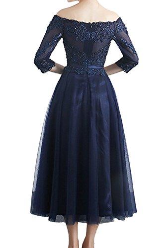 Abendkleider Damen Tuell Ivydressing Arm Royalblau mit Promkleider Navy Spitze WadenWadenlang 2017 Partykleider 5cwgwYZq
