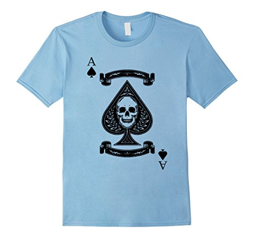 Playing Card Costume Ideas (Mens Playing Card Costume Ace Of Spade T-Shirt Halloween Skull Medium Baby Blue)