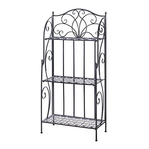 (MyEasyShopping Divine Bakers Rack, 1-Divine Bakers Rack Black, Divine Rack Baker S Bakers Shelves Iron Home Cast Three Accent Black And Flourishes, Decorative Organizer Storage Display)