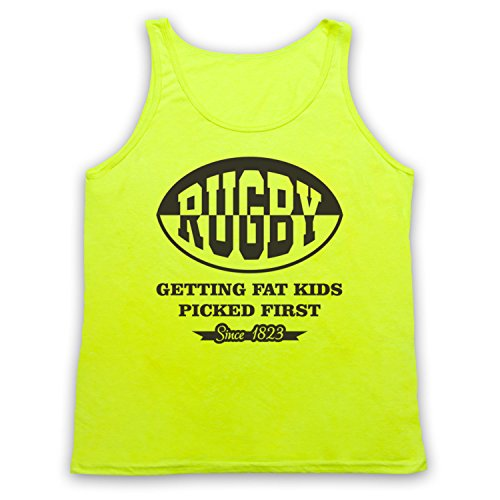 Rugby Getting Fat Kids Picked First Funny Rugby Slogan Tank-Top Weste, Neon Gelb, Large