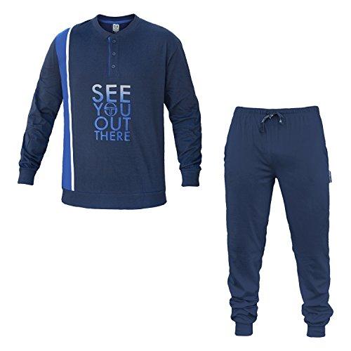 Cotone Uomo Serafino Art 24416 Pigiama Jersey Scuro Blu 2 Tacchini Sergio Colori ZqXEtX