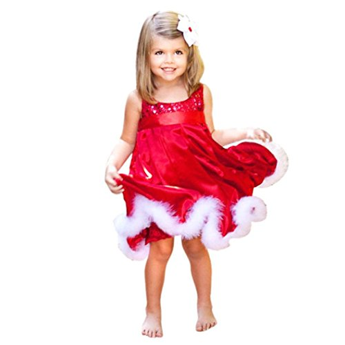 Clearance ! YANG-YI Baby Girls Christmas Party Paillette Tutu Dresses Kids Xmas Gift (130cm/5-6Y, Red) ()