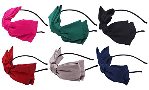 STHUAHE 6PCS Women Fashion Double Layer Solid Color Silk Fabric Big Bow Headband Headband Headwear Headwrap Hair Accessories (6 Color)