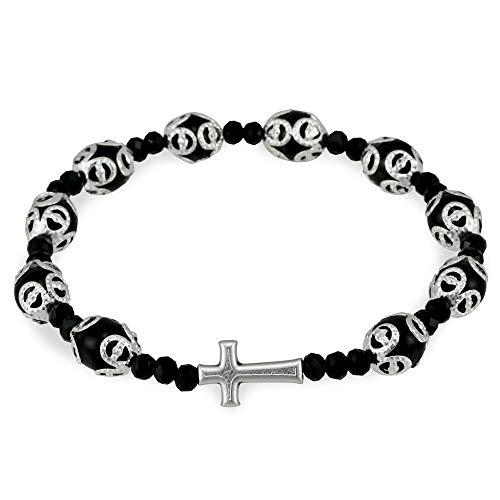 - Black Glass Beads Filigree Rosary Bracelet