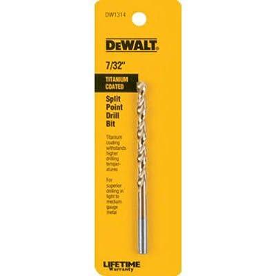 DEWALT DW1314 7/32-Inch Titanium Split Point Twist Drill Bit